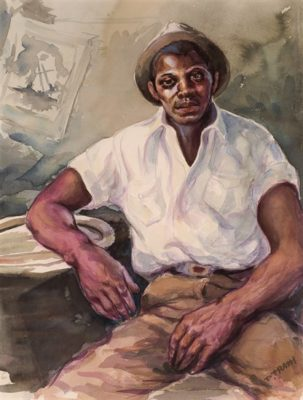 PFF182-Dox Thrash, Wandering Boy, Watercolor, 1940. Portrait of young African American man.