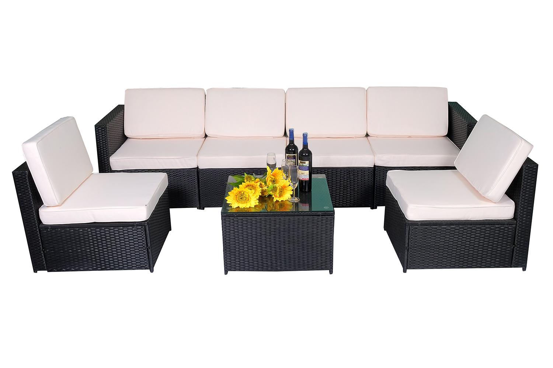 Rattan Sofa Gartenmöbel Poly Rattan Lounge Braun Sofa Garnitur