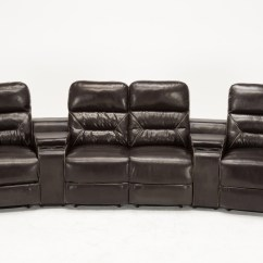 Home Theater Leather Sofa Naturewood Sofas Mcombo 4 Set Recliner Media W