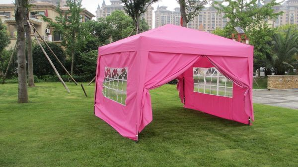 Mcombo 10x10 Ez Pop 4 Walls Canopy Party Tent Gazebo With Sides -pink 6051