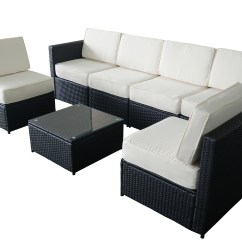 Black Outdoor Sofa Delco Leather Sectional Set With Free Storage Ottoman 91a Mcombo 7pcs Wicker Patio