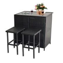 Mcombo 3pcs Black Wicker Bar Set Patio Outdoor Table & 2