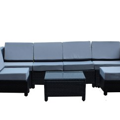 Outdoor Furniture Sofa Sectional Chaises 7 Pcs Luxury Wicker Patio Indoor