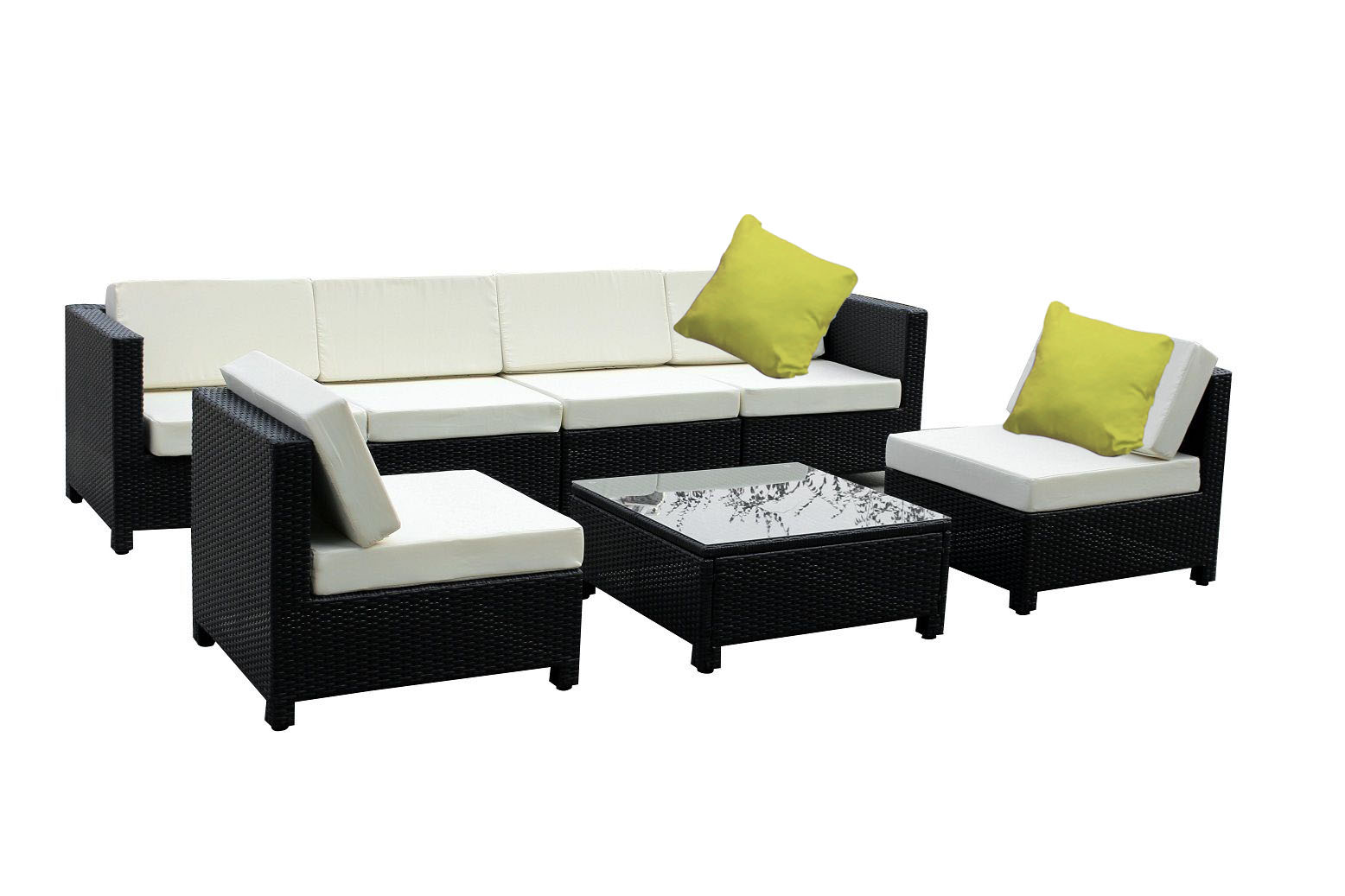 white rattan outdoor sofa fabric types malaysia 7 pc luxury wicker patio sectional indoor