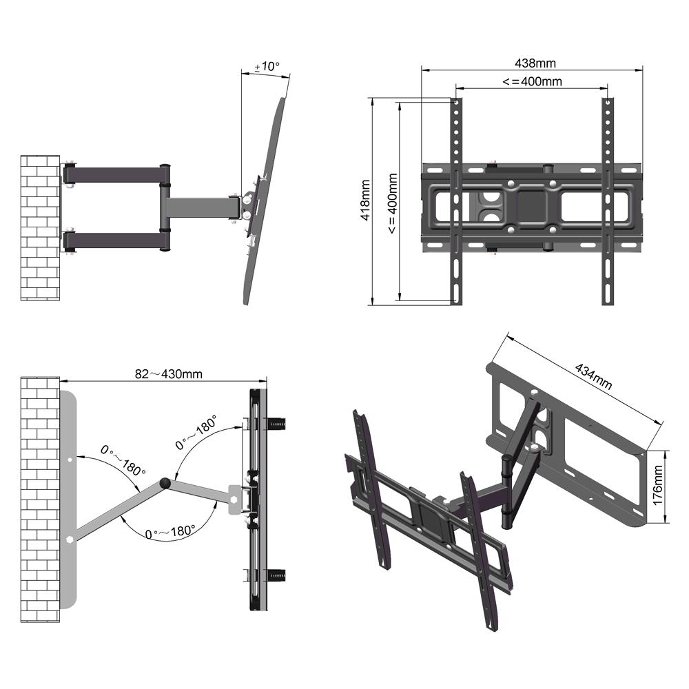 Table top TV Stand Base Swivel Wall Mount for 32-60 inch