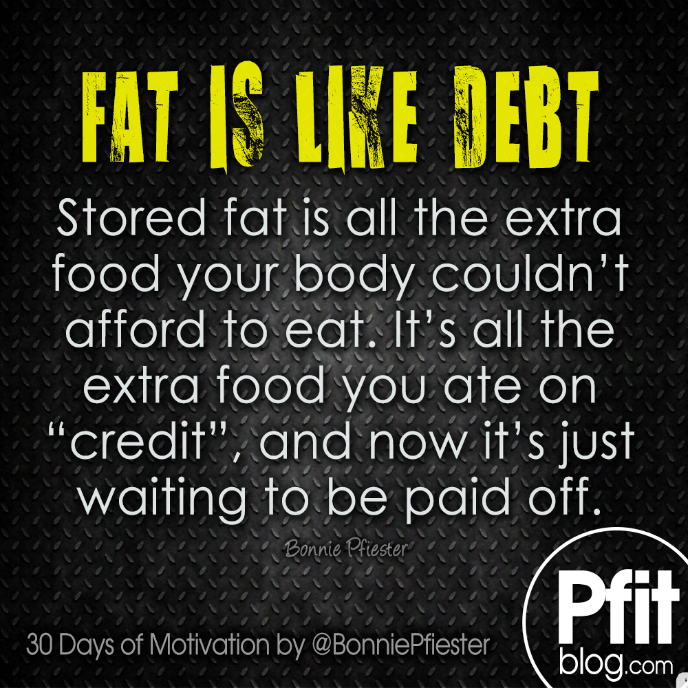 30 Days Of Motivation Are You Eating On Credit Pfitblog Leg Butt Toning Circuit Fat Is Like Debt