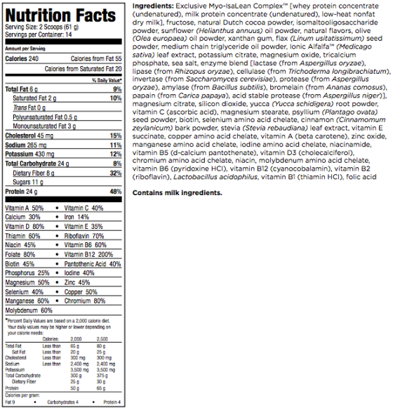 IsaLean Meal Replacement Shake Label