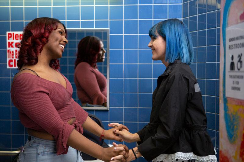 Transgender girl in bathroom