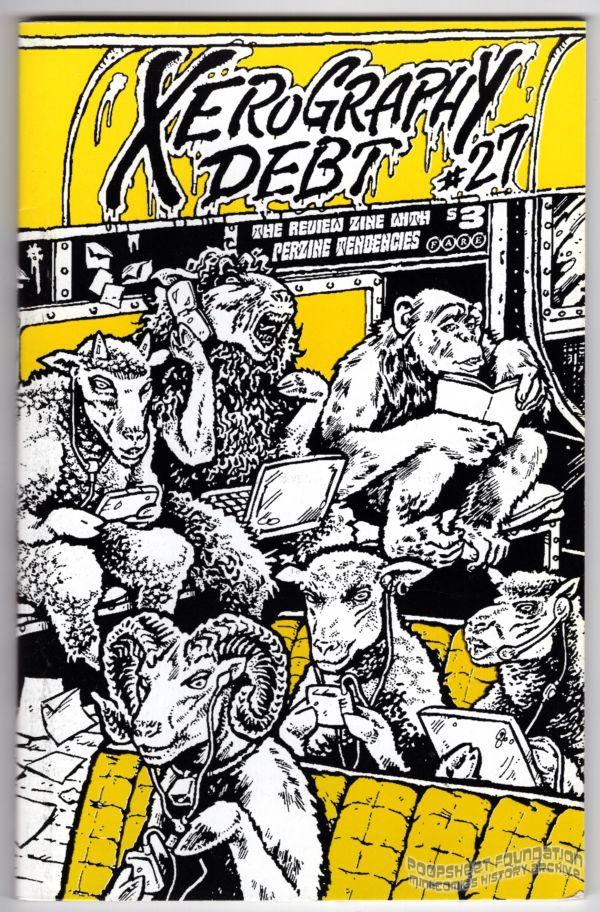 Xerography Debt cover art featuring animals riding the subway.