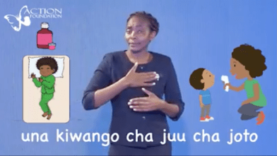 "A ""Somesha Stories"" video in Kiswahili explains how to check someone's temperature (with Kenyan Sign Language interpretation provided)."