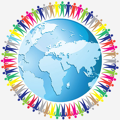Community of people joined around the globe. Social network. Land and a group of people eps10