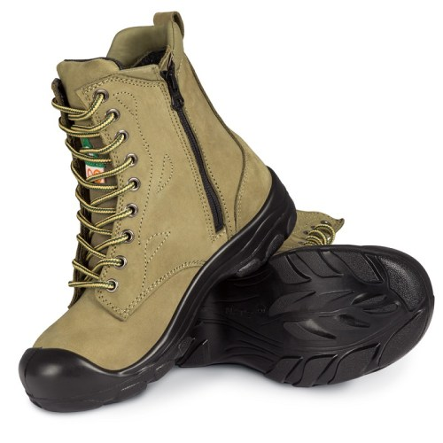 Khaki womens steel toe work boots S558