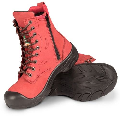 Red womens steel toe work boots S558