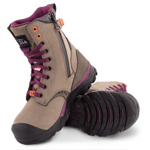 Womens steel toe work boots, waterproof, slip resistant, grey colour