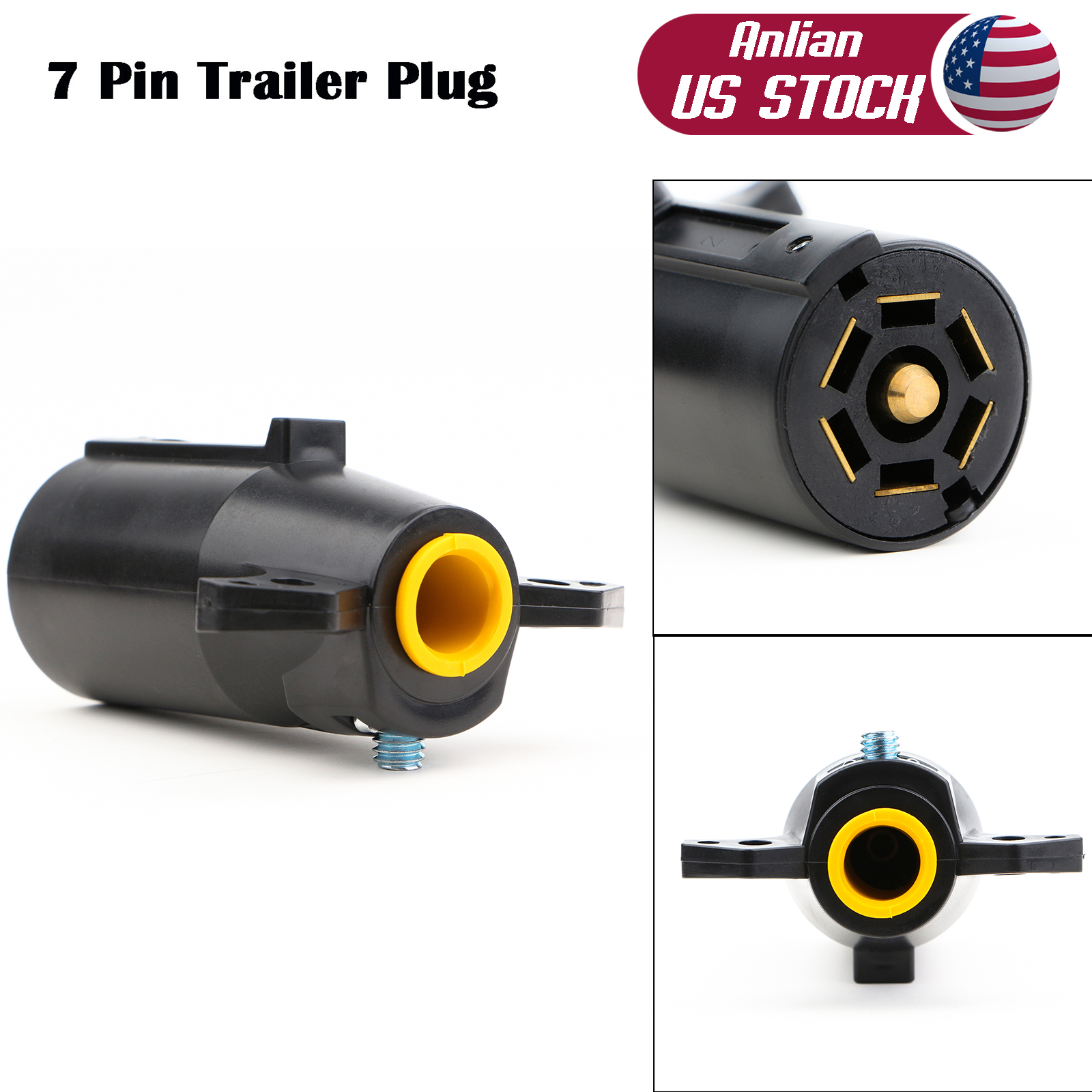 hight resolution of 7 pin 7 way 12v round blade trailer plug wiring connector rv parts male adapter