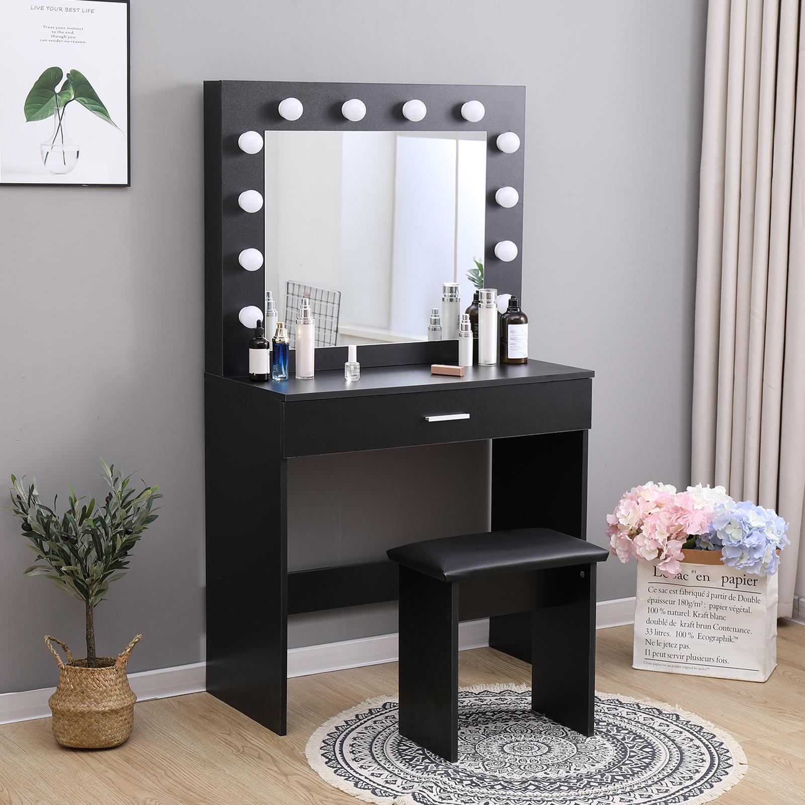 black dressing table makeup desk w led