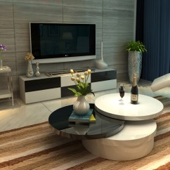 Living Room Furniture Black Gloss White Decorating Ideas 2 Rotating Coffee Table High 3 Layers Round Livingroom Details About