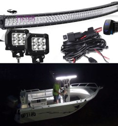 details about 50 led long stern curved light bar 2 cube pods wiring kit marine boat 12v 24v [ 1000 x 1000 Pixel ]