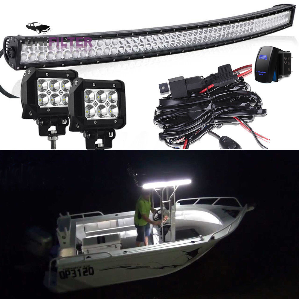 hight resolution of details about 50 led long stern curved light bar 2 cube pods wiring kit marine boat 12v 24v