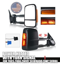 details about for 03 06 chevy gmc 1500 2500 3500 power heated yellow turn signal tow mirrors [ 1000 x 1000 Pixel ]