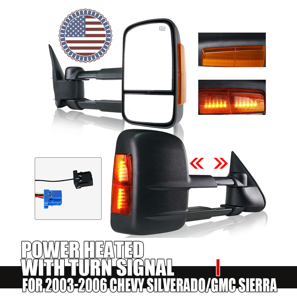 hight resolution of details about for 03 06 chevy gmc 1500 2500 3500 power heated yellow turn signal tow mirrors