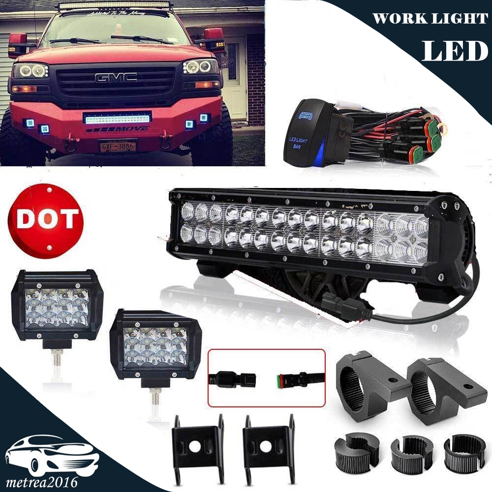 medium resolution of details about off road bumper 28 led light bar 4 cube fog lights wiring harness clamp mount