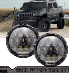 details about for hummer h1 h2 7 inch 75w round led headlight sealed beam h4 h13 adapter lamp [ 1000 x 1000 Pixel ]