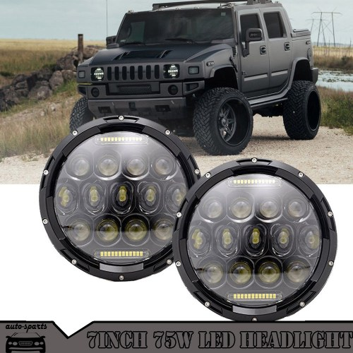 small resolution of details about for hummer h1 h2 7 inch 75w round led headlight sealed beam h4 h13 adapter lamp