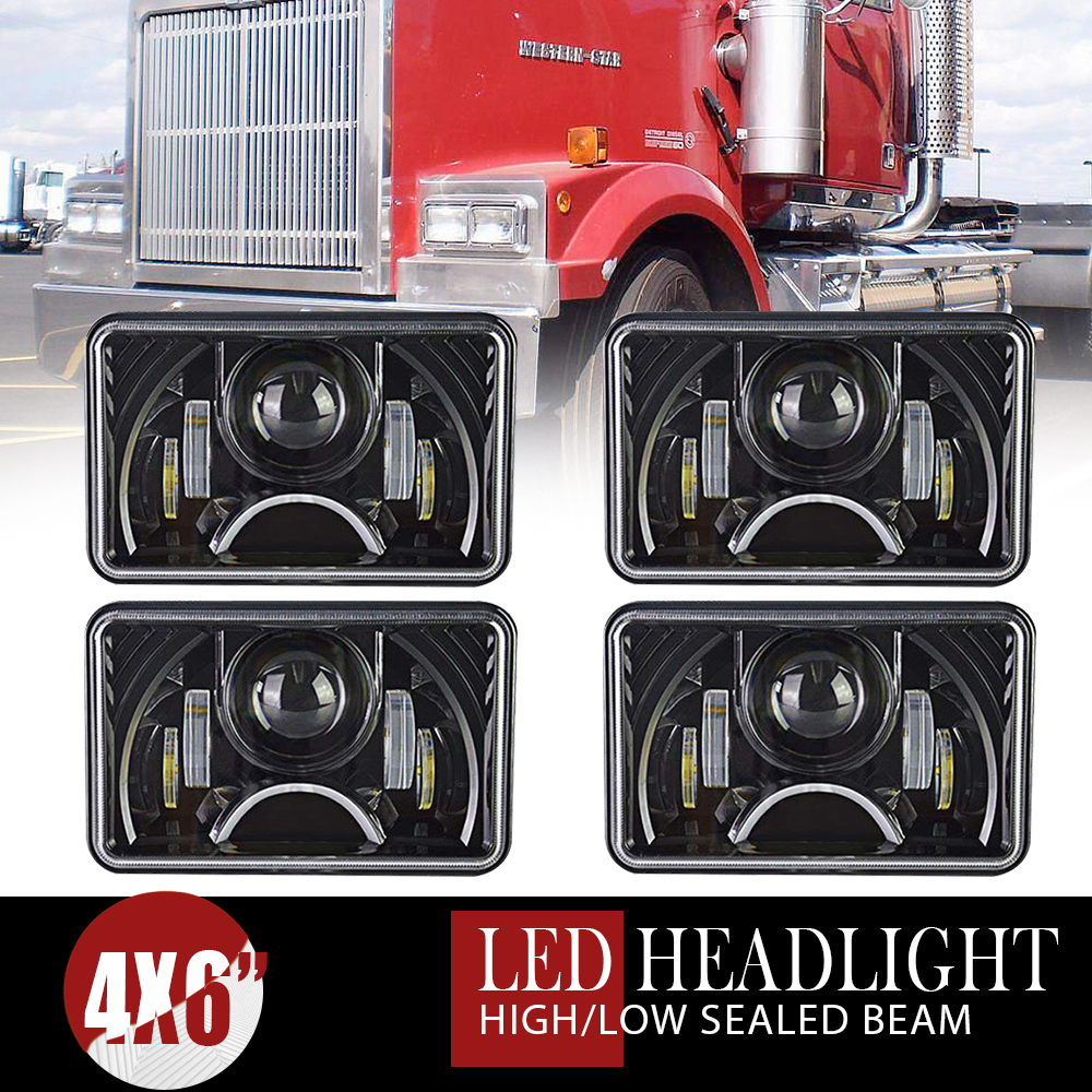 medium resolution of details about 4pc 4x6 dot 180w led headlight drl halo eye for kenworth t400 t600 t800 w900l b