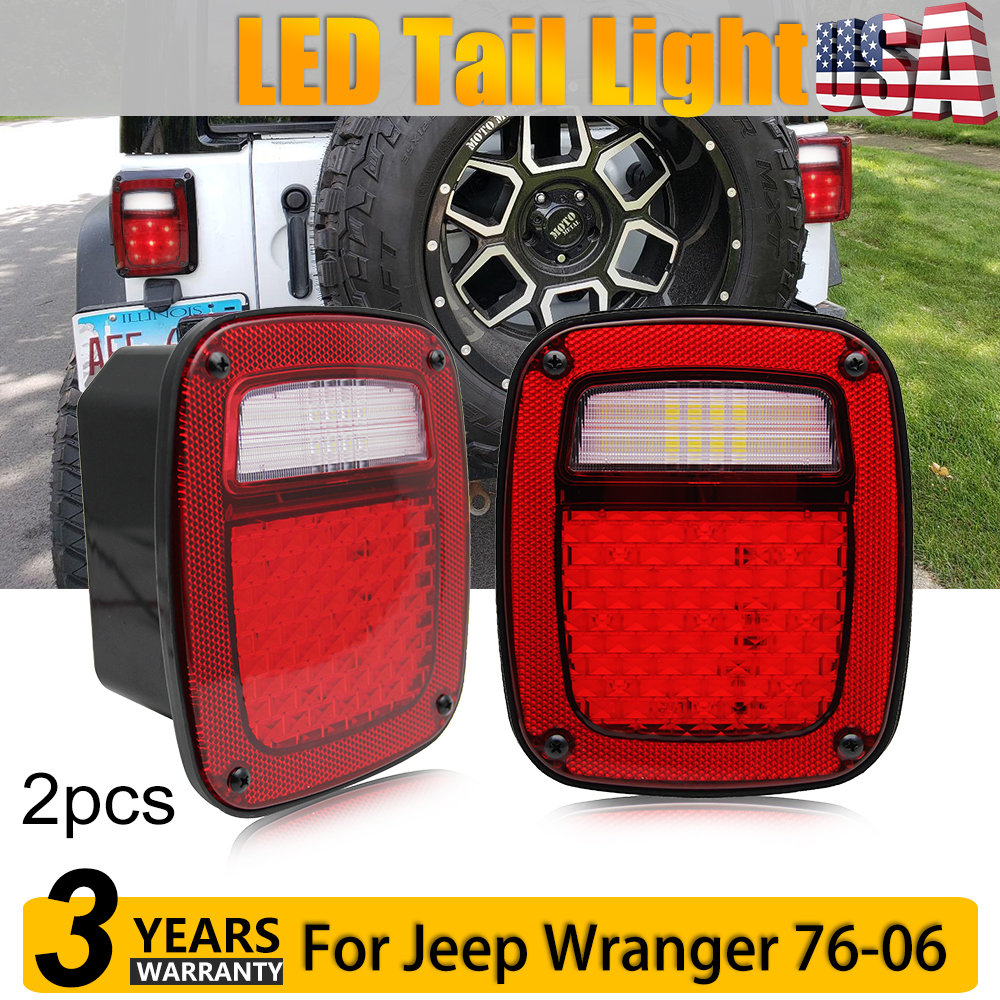 medium resolution of details about red led tail lights brake reverse turn signal for 76 86 cj 87 06 wrangler yj tj