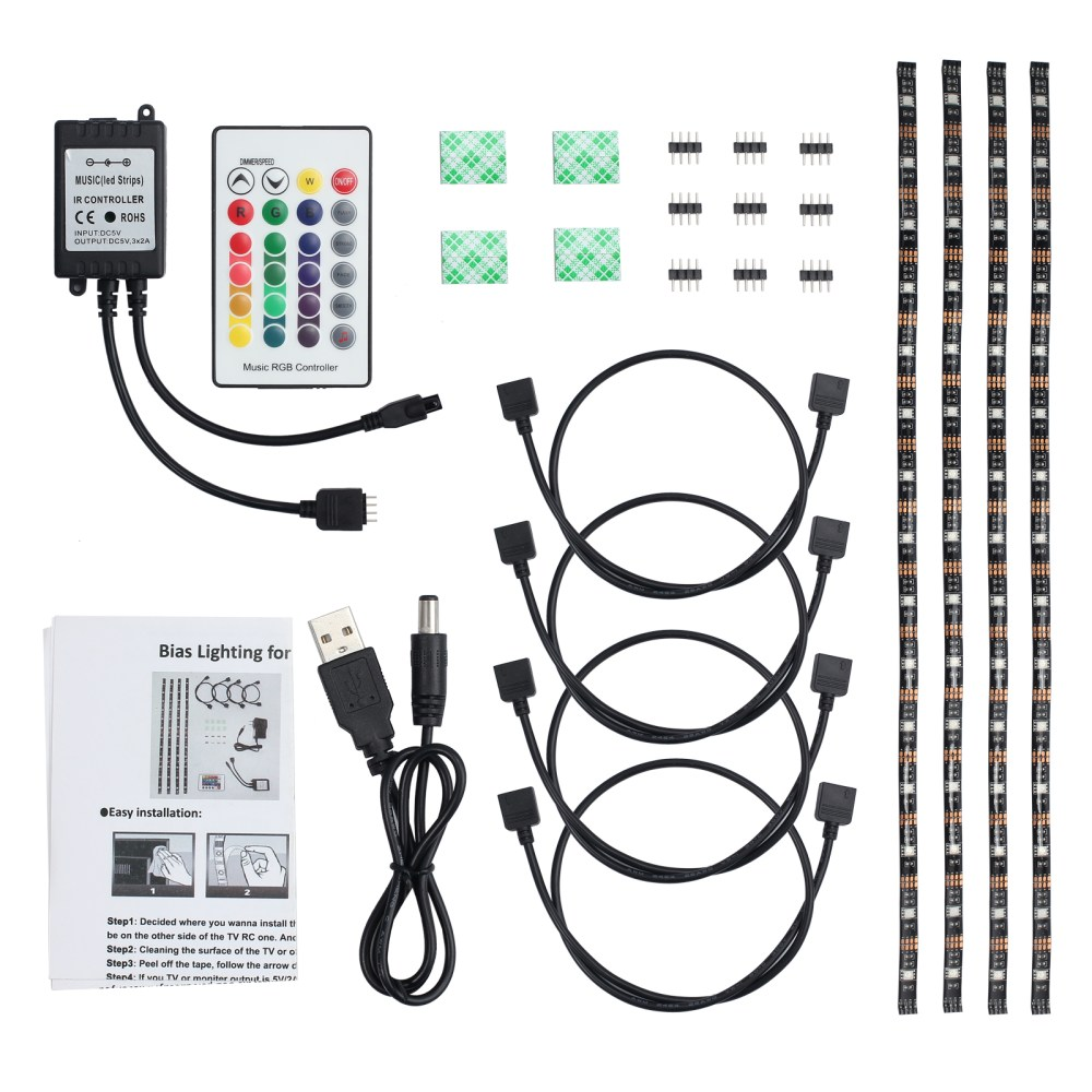 medium resolution of 4x 50cm led strip lights 4x led strip light cable 1x ir music remote receiver 1x remote control 1x usb power cable 1x stickers and other accessories
