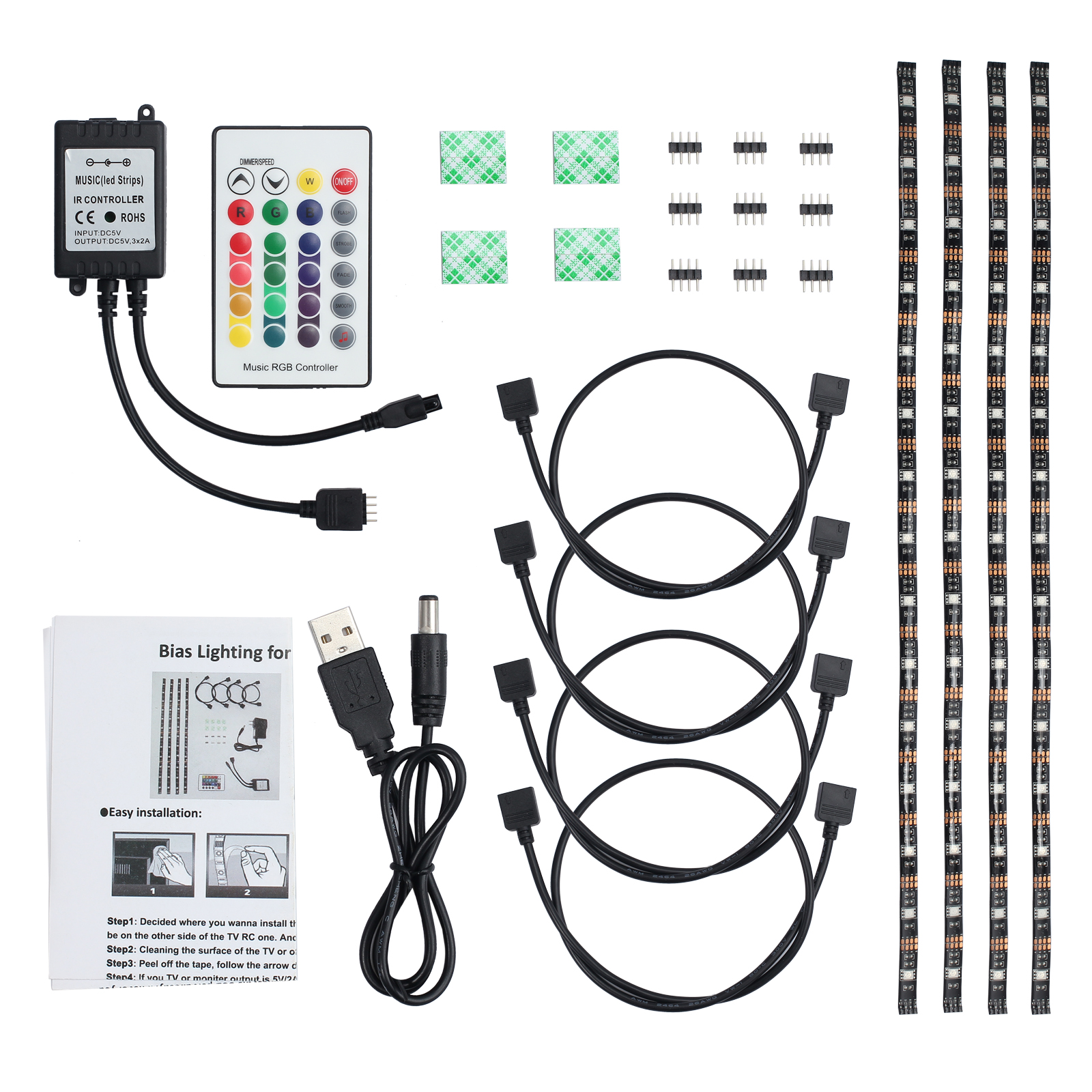 hight resolution of 4x 50cm led strip lights 4x led strip light cable 1x ir music remote receiver 1x remote control 1x usb power cable 1x stickers and other accessories