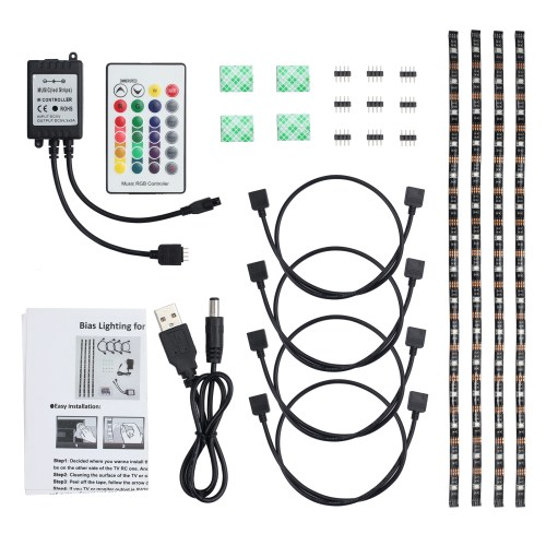 small resolution of 4x 50cm led strip lights 4x led strip light cable 1x ir music remote receiver 1x remote control 1x usb power cable 1x stickers and other accessories