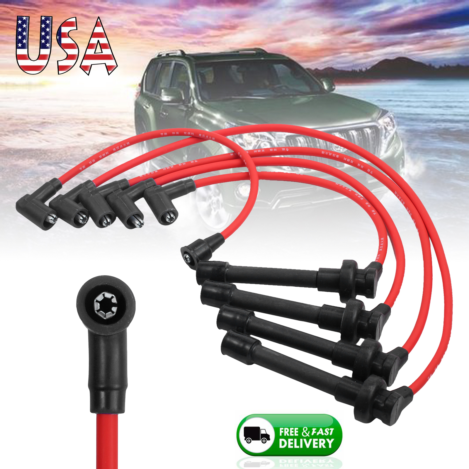 hight resolution of details about new spark plug ignition wire set for honda accord civic del sol92 98 core