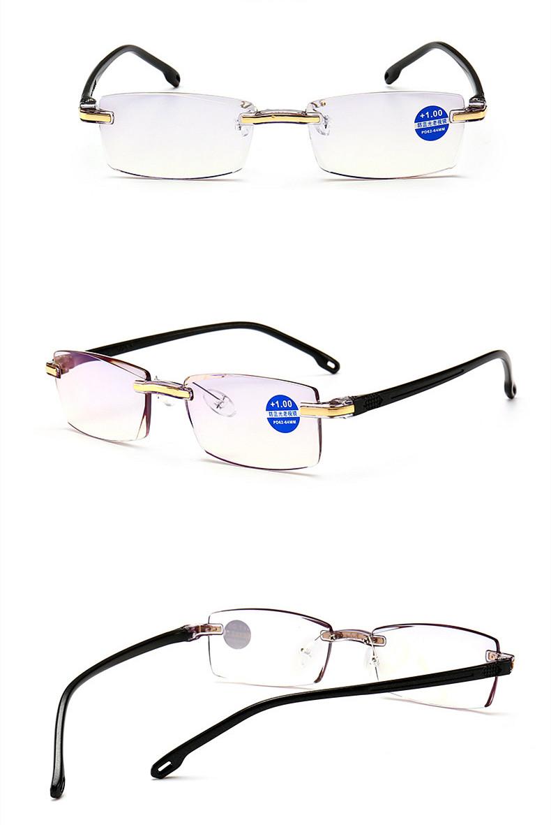 Rimless Reading Glasses Eyeglass for Men Women Anti Blue