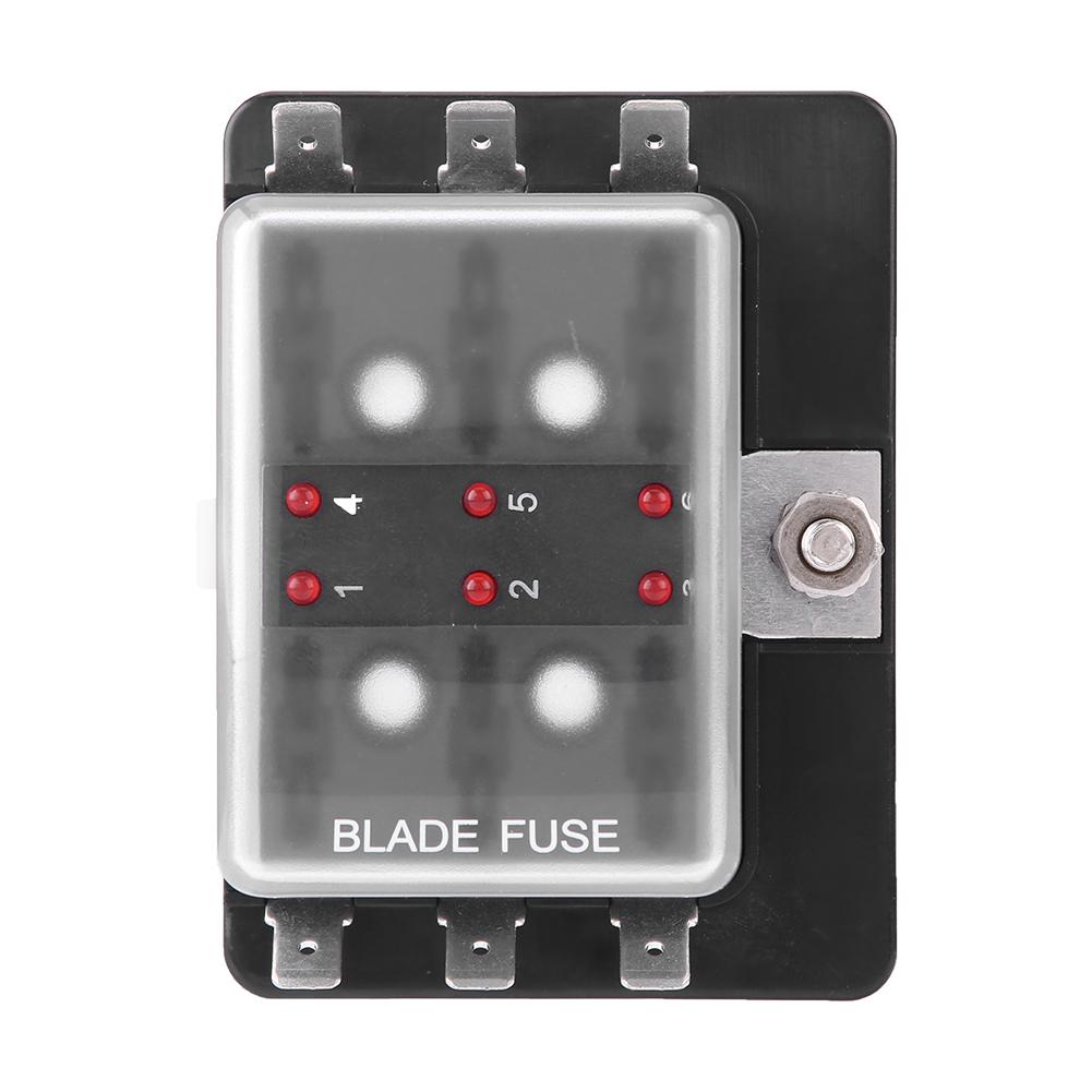 hight resolution of details about car boat 6 way dc 10v 32v blade fuse box holder with led warning light universal