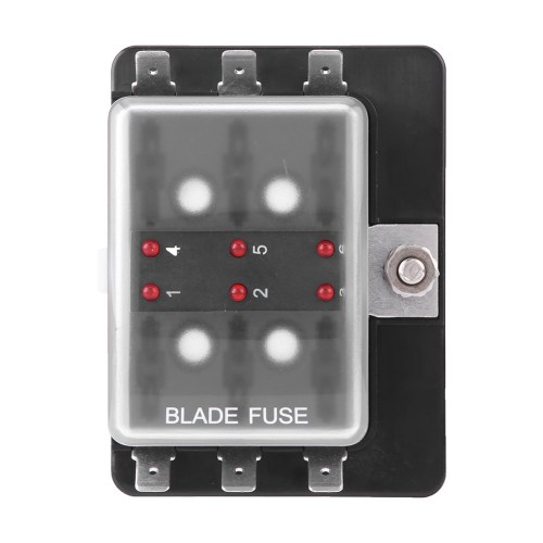small resolution of details about car boat 6 way dc 10v 32v blade fuse box holder with led warning light universal