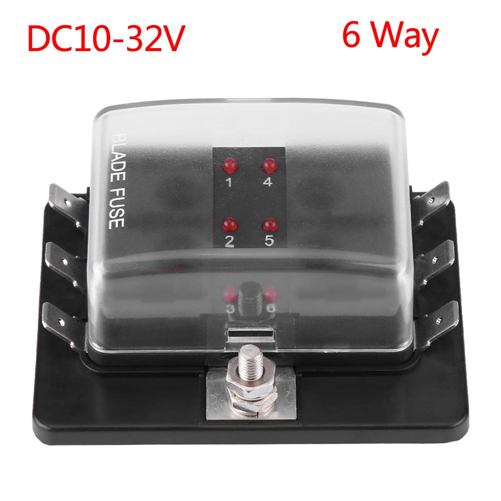 hight resolution of dc 32v 6 way blade fuse box holder led light universal for car boat marine yacht