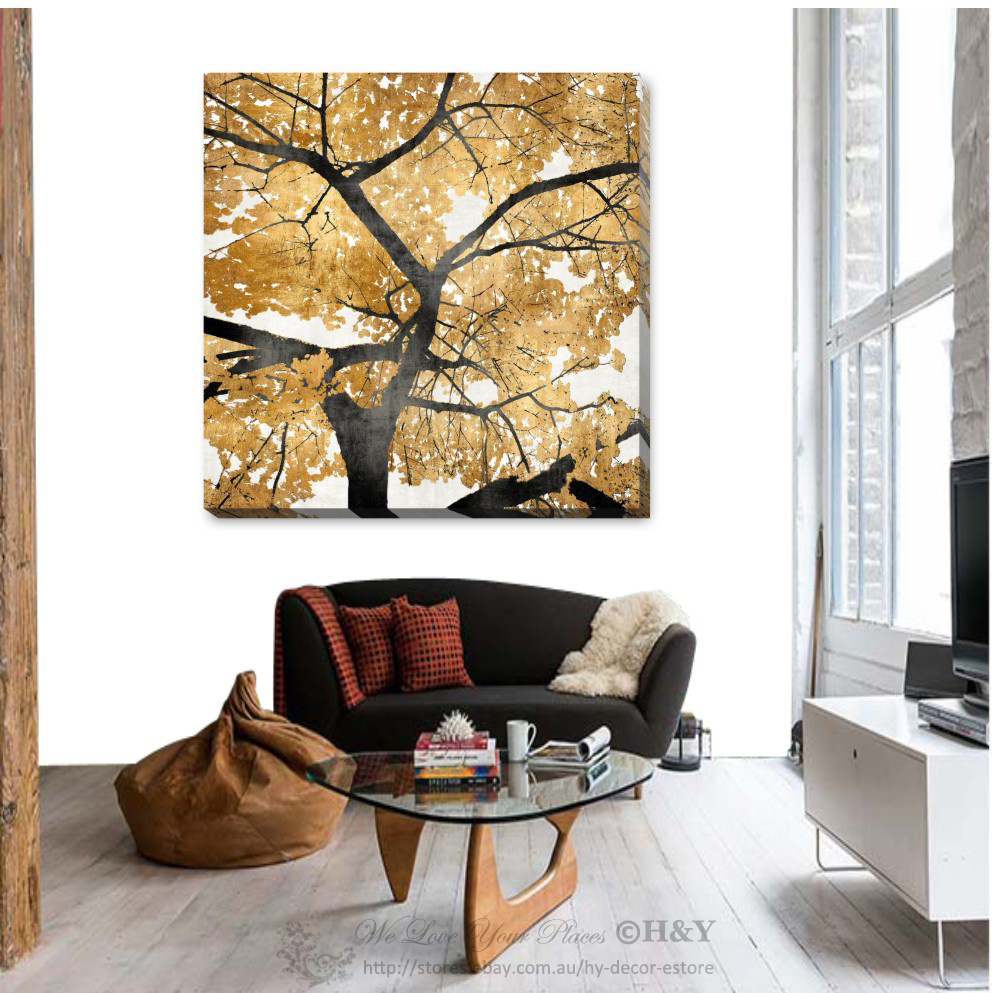 golden tree stretched canvas