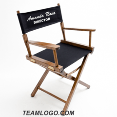 personalized makeup artist chair red leather parsons chairs directors teamlogo com custom imprint and embroidery imprinted table height 18 inch gold medal