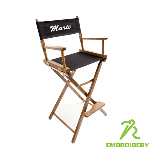 folding chair embroidered tall directors custom 30 bar height gold medal director s price includes decoration teamlogo com imprint and embroidery
