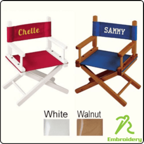 folding chair embroidered faux leather covers kids custom gold medal directors price includes decoration teamlogo com imprint and embroidery
