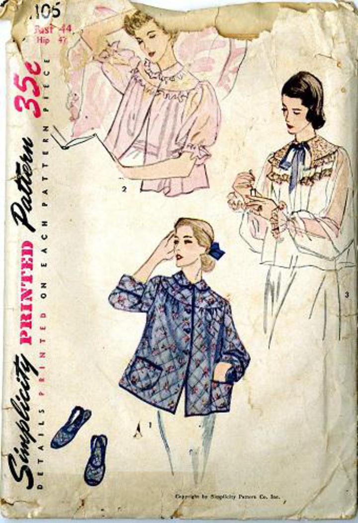 Bed Jackets Patterns : jackets, patterns, Vintage, Pattern, Warehouse,, Sewing, Patterns,, Fashion,, Crafts,, Fashion, Simplicity, #4106, Women's, Jacket, Slippers