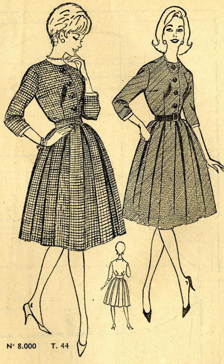 French Sewing Patterns : french, sewing, patterns, Vintage, Pattern, Warehouse,, Sewing, Patterns,, Fashion,, Crafts,, Fashion, 'Femmes', French, #151,, Misses', Shirtwaist, Dress, Pleated, Skirt