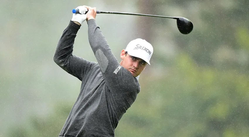 Rick Lamb is tied for the lead after a wet and rainy first day at Pebble Beach. (Harry How/Getty Images)