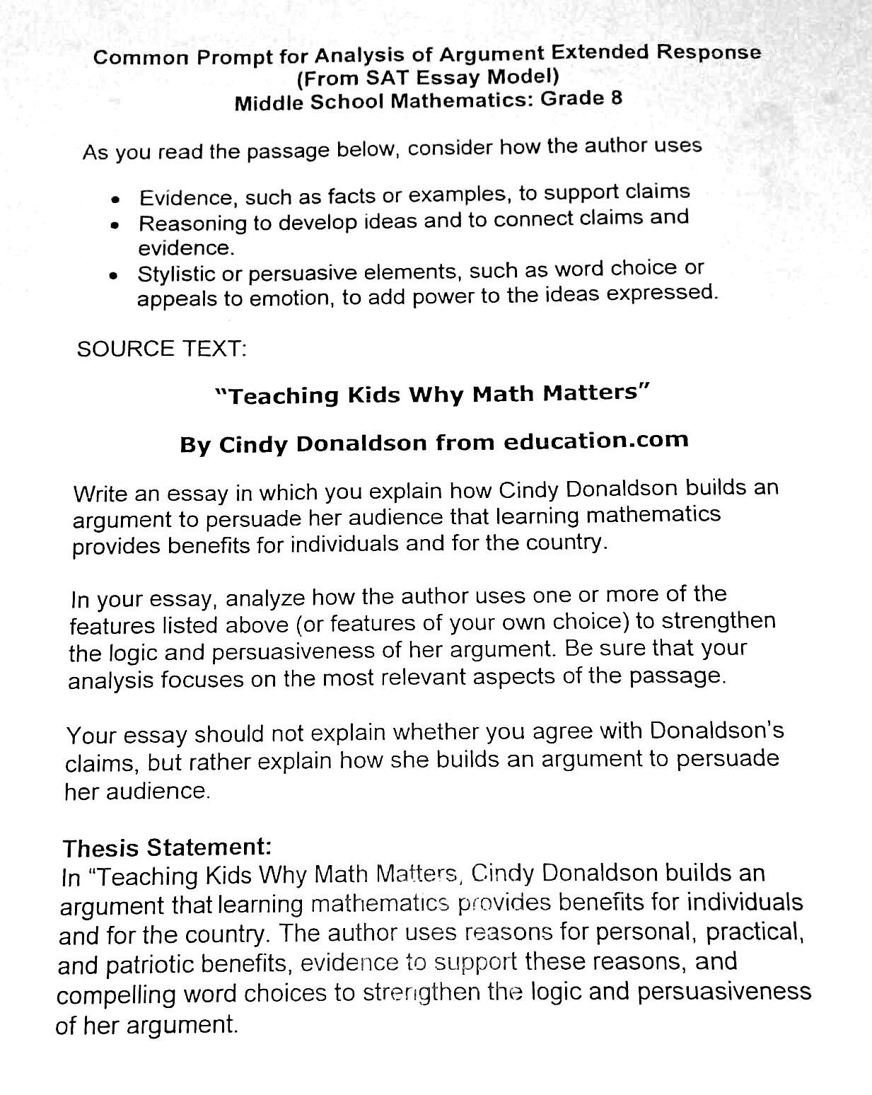 Writing Across The Curriculum One Math Teacher S