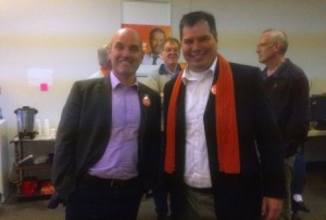 NDP candidates Nathan Cullen (Skeena-Bulkley Valley) and Trent Derrick rally the party faithful at the NDP campaign office Tuesday.