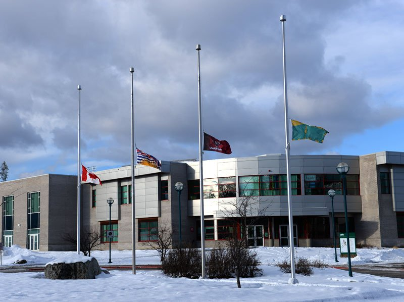 UNBC flags at half mast today.