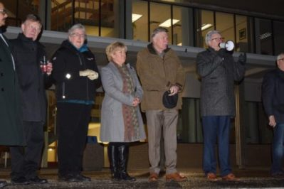Mayor Lyn Hall, flanked by city council, addresses the crowd at a rally in support of the Muslim community. Bill Phillips photo