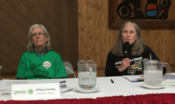 Prince George-Mackenzie Green Party candidate Hilary Crowley (left) and Prince George-Valemount Green candidate Nan Kendy attend an all-candidates forum at the Native Friendship Centre. Bill Phillips photo